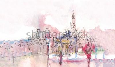Papiers peints Monument de Paris avec aquarelle dans une journée pluvieuse - vue du musée avec la Tour Eiffel derrière. Aquarelles chic. Panorama parisien. Panorama d'aquarelle parisien. Paysage chic