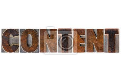 Papiers peints mot contenu dans la typographie type de bois