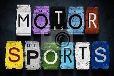 mot de sport à moteur sur des plaques d'immatriculation des voitures de cru, signe concept