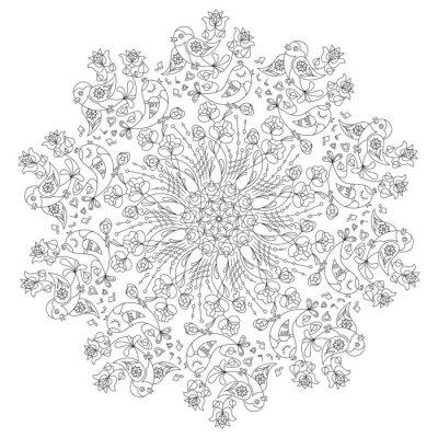 Papiers peints Motif circulaire avec des oiseaux et des fleurs dans le style Doodle