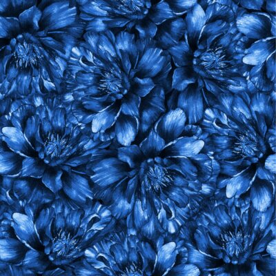 Motif Daquarelle Transparente Avec Des Pivoines Bleu Fonce Papier
