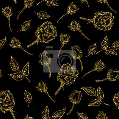 Motif Dor Sans Soudure Avec Rose Sur Fond Noir Or Fleur De Papier