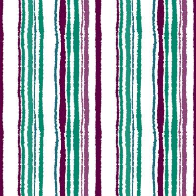 Papiers peints Motif de bande sans couture. Lignes verticales avec effet papier déchiré. Briser le fond du bord. Froid, contraste, turquoise, vert, vinous, pourpre, couleurs blanches. Thème d'hiver. Vecteur