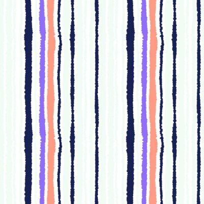 Papiers peints Motif de bande sans couture. Texture de lignes verticales avec effet de papier déchiré. Contraste gris, rose, couleurs pastel lilas sur blanc. Illustration vectorielle