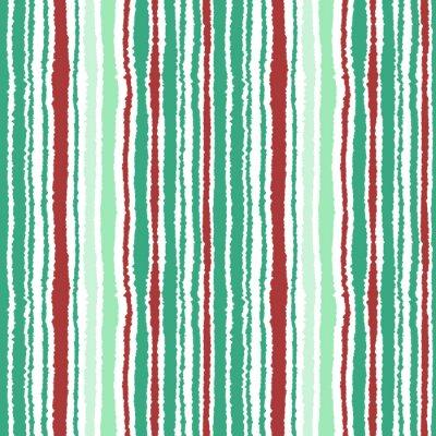 Papiers peints Motif de bande sans couture. Texture de lignes verticales avec effet de papier déchiré. Contraste olive, turquoise, vinous couleurs pastel sur fond blanc. Illustration vectorielle