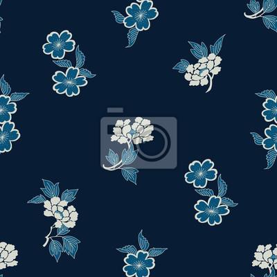 Motif De Batik Sans Couture De Colorant Dindigo Motif Traditionnel