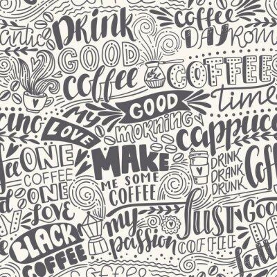 Papiers peints Motif de café à lettres sans couture avec des citations. Illustration dessinée à main dessinée