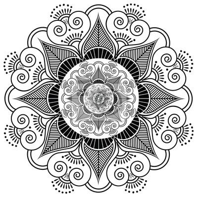 Motif de fleur de tatouage de henné indien