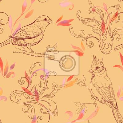 motif de fleurs d'oiseaux et tiré par la main