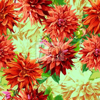 Motif de fleurs de Georgina avec des feuilles 2