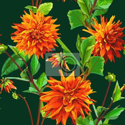 Motif de fleurs de Georgina avec des feuilles 3