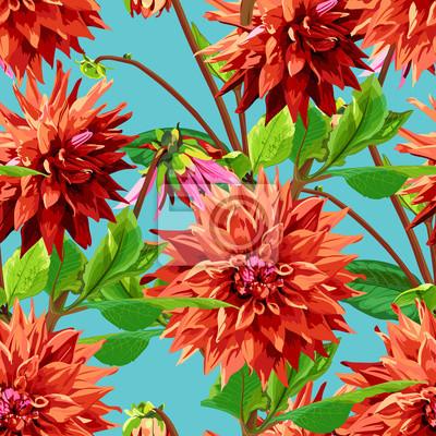 motif de fleurs de Georgina avec des feuilles