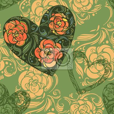 motif de fleurs de l'aster à feuilles et les coeurs