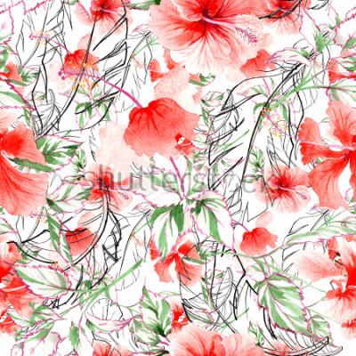 Papiers peints Motif de fleurs roses fleurs sauvages dans un style Aquarelle. Nom complet de la plante: rose, rosa, hulthemia. Aquarelle Fleur sauvage pour le fond, la texture, le motif enveloppant, le cadre ou la b