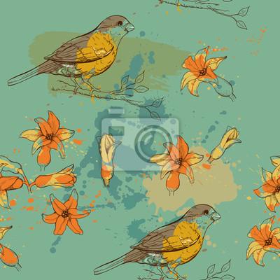 motif de l'oiseau et de fleurs