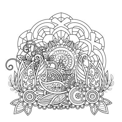 Motif De Mandala Floral En Noir Et Blanc Page De Livre De Coloriage Papier Peint Papiers Peints Arabesque Motif Ottoman Myloview Fr