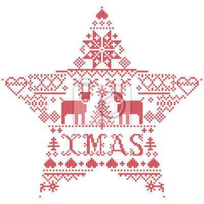 Motif de Noël de vecteur Noël inspiré par la culture nordique festive et hivernale au point de croix avec coeurs, renne, ornements décoratifs, flocon de neige, arbre de Noël, flocons de neige, neige e