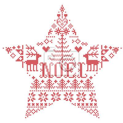 Motif de Noël en forme d'étoile avec le mot vecteur Noel inspiré par la culture nordique, hiver festif au point de croix avec coeurs, renne, ornements décoratifs, flocon de neige en rouge, point de cr
