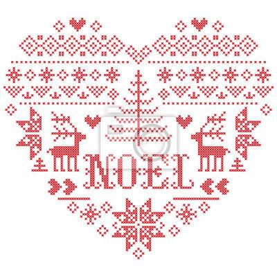 Motif de Noël en forme de coeur avec Noel mot vecteur inspiré par la culture nordique, hiver festif au point de croix avec coeurs, renne, ornements décoratifs, flocon de neige en rouge, au point de cr