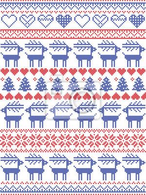 Motif de Noël inspiré du point de croix scandinave et du décor nordique de coutures hivernales sans couture, y compris flocons de neige, cœurs, neige, étoile, arbre de Noël, renne, ornements en rouge,