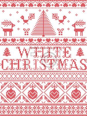 Motif de Noël Motif sans soudure de vecteur carol de Noël blanc inspiré par la culture nordique, hiver festif au point de croix avec cœur, flocon de neige, neige, sapin de Noël, renne, en rouge et bla