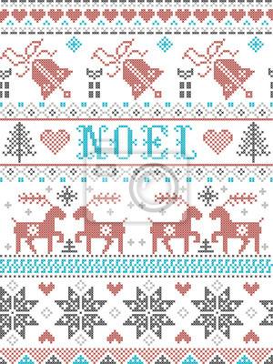Motif de Noël Noel de style scandinave, inspiré de la culture hivernale festive norvégienne, sans couture, au point de croix avec des rennes, arbre de Noël, coeur, cadeaux, cloche, étoiles, neige en g