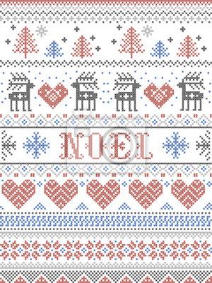 Motif de Noël Noel style scandinave, inspiré de la culture hivernale festive norvégienne, sans couture, au point de croix avec des rennes, arbre de Noël, coeur, cadeau, flocon de neige, étoile, neige