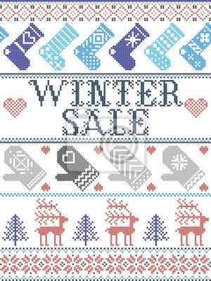 Motif de Noël sans couture Solde d'hiver inspiré de Noël norvégien, hiver festif au point de croix avec renne, arbre de Noël, cœur, flocons de neige, neige, bas, mitaines en bleu, rouge, gris