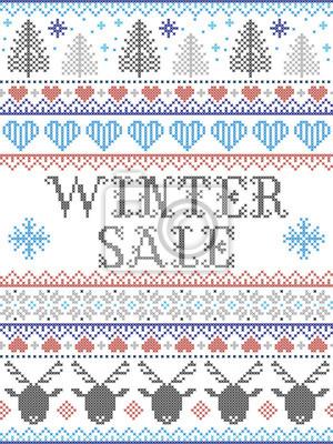 Motif de Noël sans couture Solde d'hiver inspiré par le Noël norvégien, hiver festif au point de croix avec renne, arbre de Noël, cœur, flocons de neige, neige, en bleu, rouge, gris