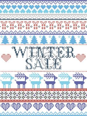 Motif de Noël sans couture Soldes d'hiver inspirés par le Noël norvégien, hiver festif au point de croix avec renne, arbre de Noël, cœur, flocons de neige, neige, cadeau en bleu, rouge, gris