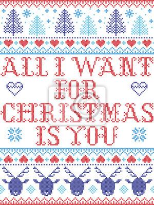 Motif de Noël sans couture Tout ce que je veux pour Noël, c'est toi, inspiré du Noël norvégien, hiver festif au point de croix avec un renne, arbre de Noël, cœur, flocons de neige, neige, en bleu, rou