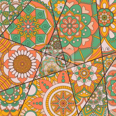 Motif De Patchwork Elements Decoratifs Vintage Contexte Dessine
