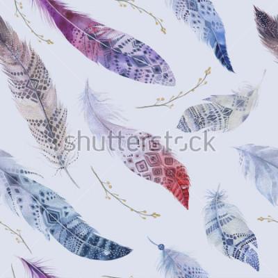 Papiers peints Motif de plumes. Aquarelle fond élégant. Imprimé organique de couleur aquarelle. Texture transparente couleur boho répétée avec papier peint chic dessiné à la main. Illustration d'oiseau