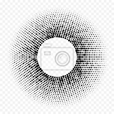 Motif de point radial géométrique de demi-ton cercle. Abstrait de vecteur de cercle de mosaïque de demi-teinte noir blanc. Conception de dégradé minimal de texture graphique à la mode simple pour le f