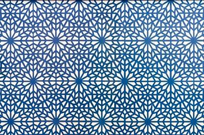 Motif de style arabe lignes bleues sur fond blanc papier peint ...