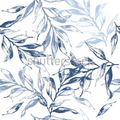 Papiers peints Motif de texture des feuilles bleues. Aquarelle florale fondante. Motif sans couture peut être utilisé pour le papier peint, motifs de remplissage, fond de page web, textures de surface