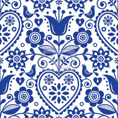 Motif De Vecteur Scandinave Sans Couture Folk Art Floral Design