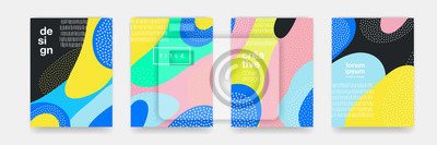 Papiers peints Motif dégradé de couleur ondulée bleu, orange, noir, rose sur fond blanc. Forme de tendance vecteur pour la conception de modèle de couverture brochure