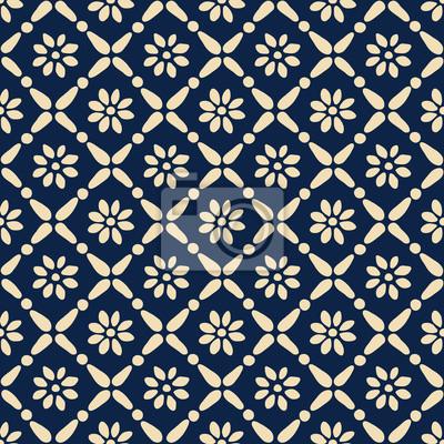 Motif Ethnique Bleu Imprime Sans Couture De Woodblock Ornement