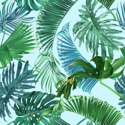 Papiers peints Motif feuilles tropicales