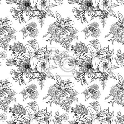 Papiers Peints Motif Fleur Noir Et Blanc Pour Colorier Dessin à Fleurs Sans