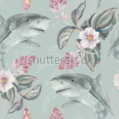 Papiers peints Motif floral illustré à la main sans couture avec Medinilla Magnifica rose et requin