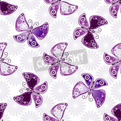 Papiers peints Motif floral sans couture avec des papillons violets et des fleurs (vecteur)