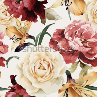 Papiers peints Motif floral sans couture avec des roses, aquarelle. Illustration vectorielle