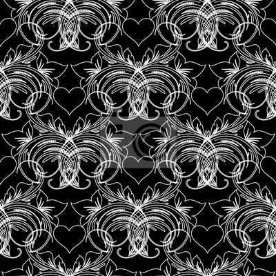 Motif Floral Sans Couture Fond Noir Fond Decran Fleuri Vintage