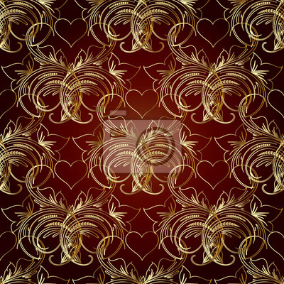 Motif Floral Sans Couture Fond Rouge Avec Des Fleurs Des Feuilles
