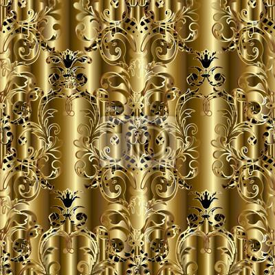 Motif Floral Sans Marbre Or Damasse Fond Decran Golden Wallpaper