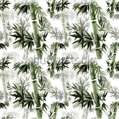 Papiers peints Motif floral sans soudure. Le brassage de bambou dans le vent. Art traditionnel oriental, aquarelle, encre, sans pinceau.