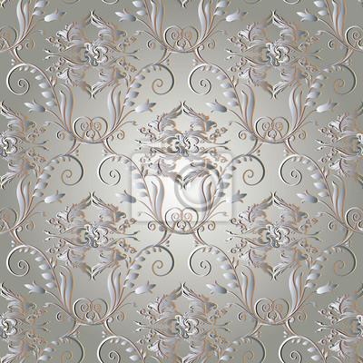 Motif Floral Vintage Sans Couture Fond De Damas Léger Fond Papier