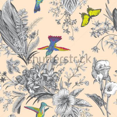 Papiers peints Motif floral vintage sans soudure de vecteur. Fleurs et oiseaux exotiques. Illustration de classique botanique. coloré